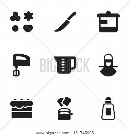 Set Of 9 Editable Meal Icons. Includes Symbols Such As Agitator, Slice Bread, Shortcake And More. Can Be Used For Web, Mobile, UI And Infographic Design.