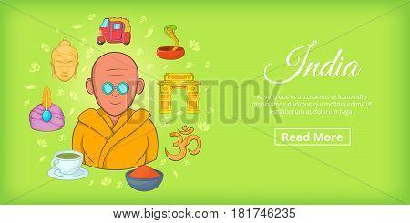 India travel horizontal banner concept. Cartoon illustration of India travel vector horizontal banner for web