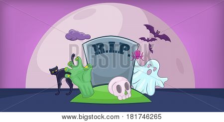 Haloween cemetery horizontal banner concept. Cartoon illustration of haloween cemetery vector horizontal banner for web