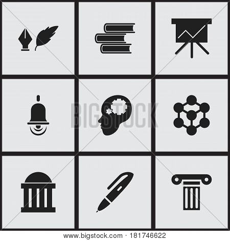 Set Of 9 Editable School Icons. Includes Symbols Such As Chart Board, Courtroom, Creative Idea And More. Can Be Used For Web, Mobile, UI And Infographic Design.