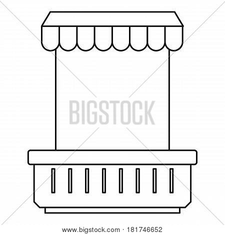 Window with canopy and window and flowerbox icon. Outline illustration of window with canopy and flowerbox vector icon for web