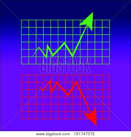 Abstract graph on blue-purple background. Vector illustartion.