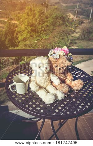 Concept Teddy Bears Couple With Love And Relationship For Valentine Day.