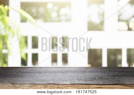 Wood Table And Blurred Background For Montage Product Display .