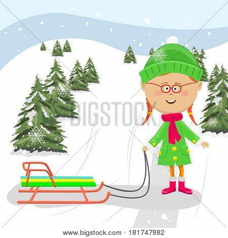 Cute little girl standing with a sledge ready to ride