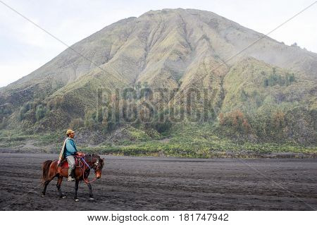 Horse Rider On Mt.bromo National Park, Indonesia