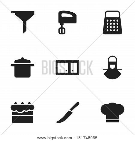 Set Of 9 Editable Meal Icons. Includes Symbols Such As Filtering, Cook Cap, Agitator And More. Can Be Used For Web, Mobile, UI And Infographic Design.
