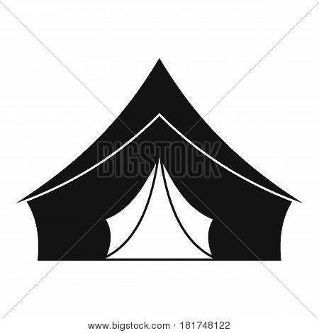 Tent with a triangular roof icon. Simple illustration of tent with a triangular roof vector icon for web