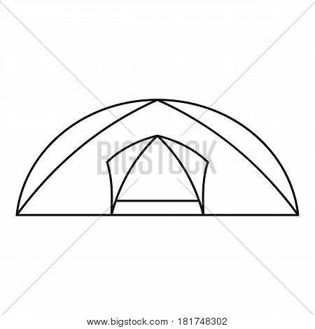 Tourist semicircular tent icon. Outline illustration of tourist semicircular tent vector icon for web