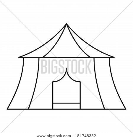 Hiking and camping tent icon. Outline illustration of hiking and camping tent vector icon for web