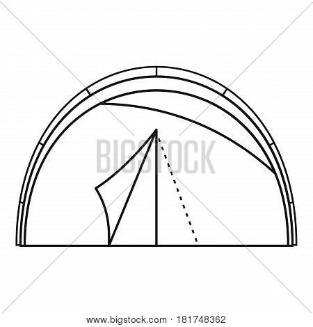 Semicircular tent icon. Outline illustration of semicircular tent vector icon for web