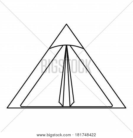 Triangle tent icon. Outline illustration of triangle tent vector icon for web