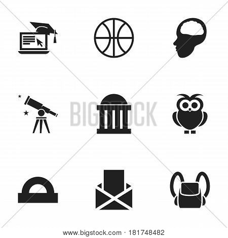 Set Of 9 Editable Education Icons. Includes Symbols Such As Cerebrum, Basket Play, Semicircle Ruler And More. Can Be Used For Web, Mobile, UI And Infographic Design.