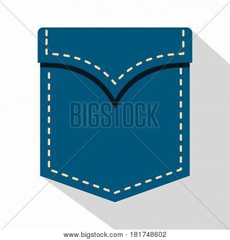 Blue pocket symbol icon. Flat illustration of blue pocket symbol vector icon for web on white background