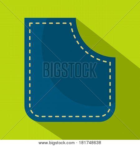 Blue pocket icon. Flat illustration of blue pocket vector icon for web on lime background