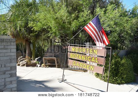 PALM SPRINGS, CA - MARCH 24, 2017: Moortens Botanical Garden and Cactarium entrance. The private arboretum was created in 1938, housing cacti and desert plants from around the world.