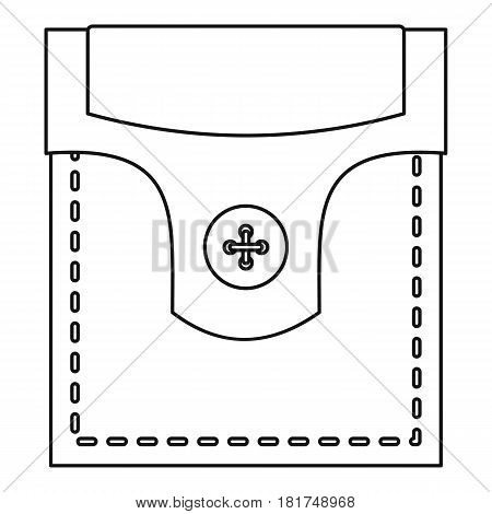 Pocket with valve and button icon. Outline illustration of pocket with valve and button vector icon for web