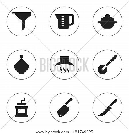 Set Of 9 Editable Meal Icons. Includes Symbols Such As Kitchen Hood, Backsword, Mensural And More. Can Be Used For Web, Mobile, UI And Infographic Design.