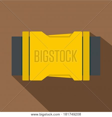 Yellow Side release buckle icon. Flat illustration of yellow side release buckle vector icon for web on coffee background