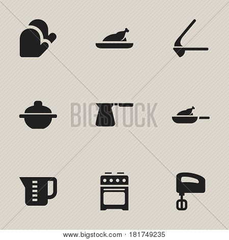 Set Of 9 Editable Meal Icons. Includes Symbols Such As Crusher, Coffee Pot, Mensural And More. Can Be Used For Web, Mobile, UI And Infographic Design.