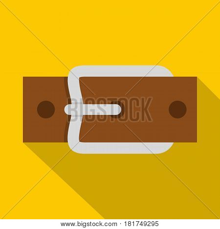Leather belt with silver buckle icon. Flat illustration of leather belt with silver buckle vector icon for web on yellow background