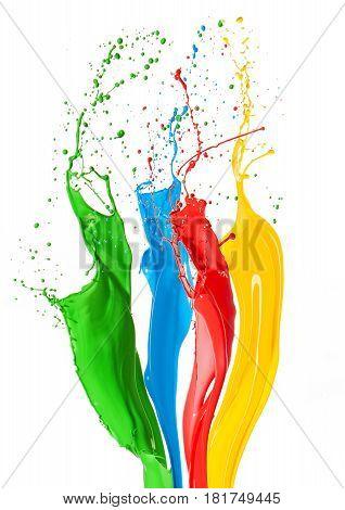 Colorful Liquid Paint Splashes Different Colors