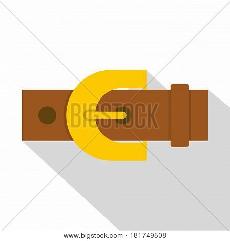 Brown elegant leather trousers belt icon. Flat illustration of brown elegant leather trousers belt vector icon for web on white background