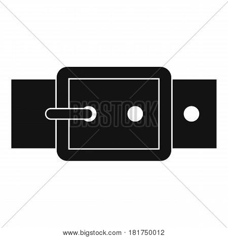 Black buckle belt icon. Simple illustration of black buckle belt vector icon for web