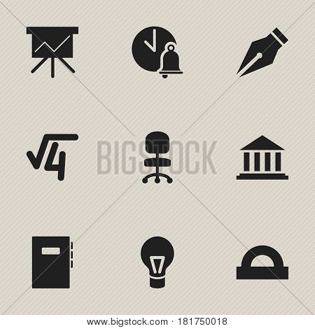Set Of 9 Editable Education Icons. Includes Symbols Such As Lamp, Math Root, Workbook And More. Can Be Used For Web, Mobile, UI And Infographic Design.