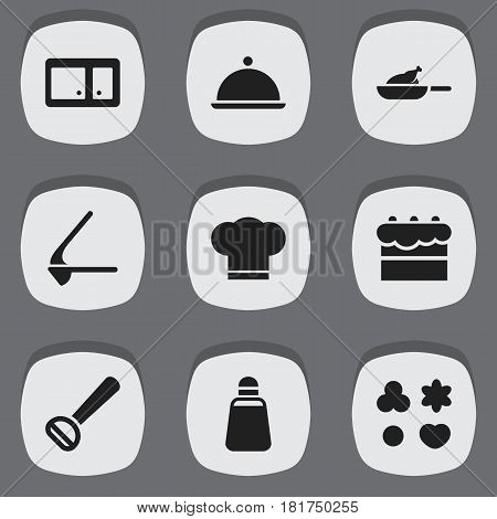 Set Of 9 Editable Food Icons. Includes Symbols Such As Crusher, Cook Cap, Paprika And More. Can Be Used For Web, Mobile, UI And Infographic Design.