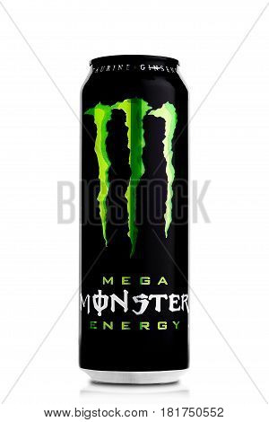 London, Uk - April 12, 2017:  A Can Of Monster Energy Drink On White. Introduced In 2002 Monster Now