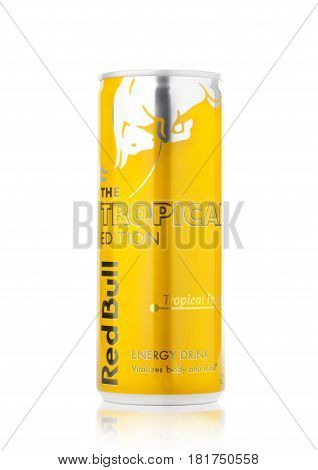 London, Uk - April 12, 2017: Can Of Red Bull Energy Drink The Tropical Editionon White Background. R
