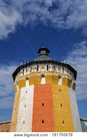 Tower of ancient Spaso-Prilutsky (Savior-Priluki) Monastery in Vologda North Russia