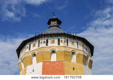Upper part of tower of ancient Spaso-Prilutsky (Savior-Priluki) Monastery in Vologda North Russia