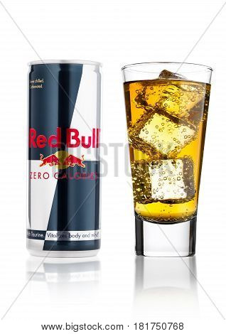 London, Uk - April 12, 2017: Can Of Red Bull Energy Drink Zero Calories With Glass And Ice Cubes On