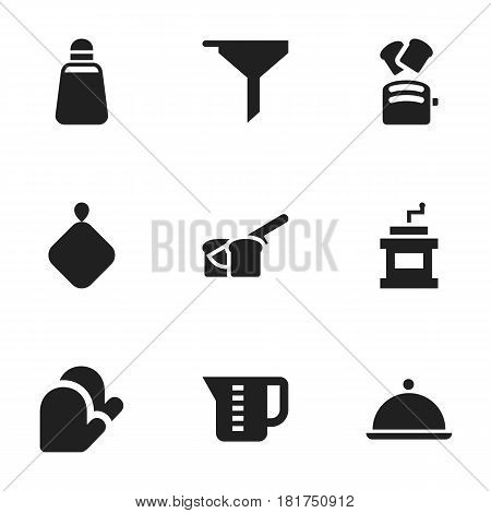 Set Of 9 Editable Cooking Icons. Includes Symbols Such As Slice Bread, Mocha Grinder, Pot-Holder And More. Can Be Used For Web, Mobile, UI And Infographic Design.