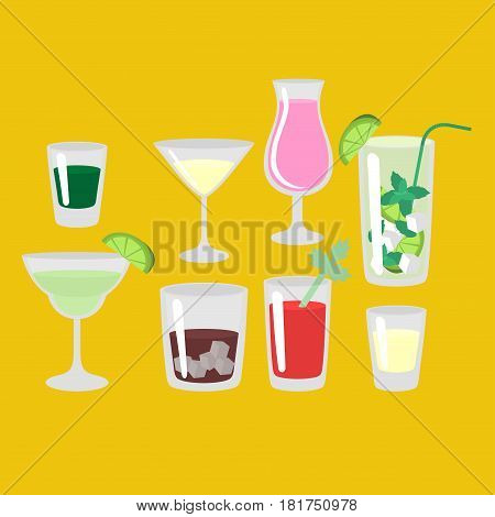 Flat classic alcohol cocktails isolated. Glass with margarita mojito whiskey liquor