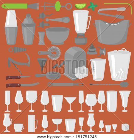 Bar Glassware Cocktails Beer and Wine Glasses. Rocks shoot and highball. Old fashioned tumbler collins and hurricane. Barman Tools. Bartender equipment. Isolated instrument icon