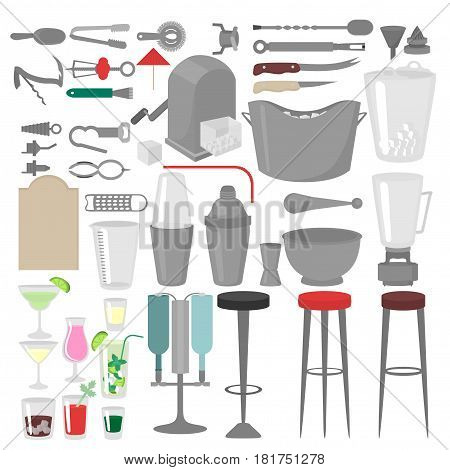 Flat Barman Mixing, Opening and Garnishing Tools. Bartender equipment Shaker, Opener, Mixing glasses. Ice Buckets, Bottle Pourers, Bar spoon. Isolated instrument icon