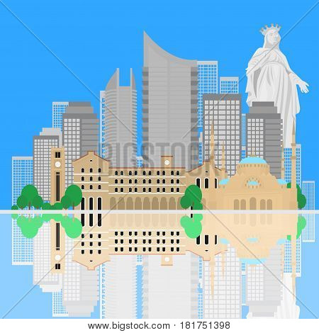 Beirut City skyline silhouette. Flat lebanese tourism icon banner postcard. Lebanon travel concept. Cityscape with landmarks architecture