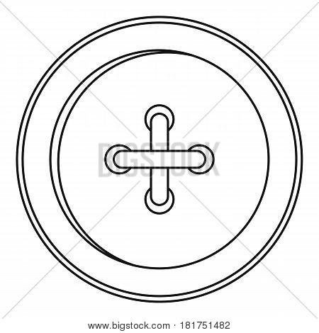 Round sewn button icon. Outline illustration of tound sewn button vector icon for web