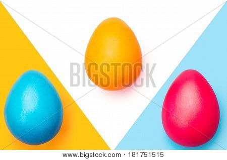 Colored Easter Eggs, Three Color Background Abstraction