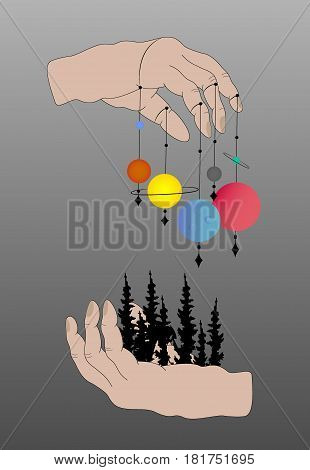Vintage Astronomy: human hands with space.Vector illustration isolated. Astrology magic space and nature symbol set
