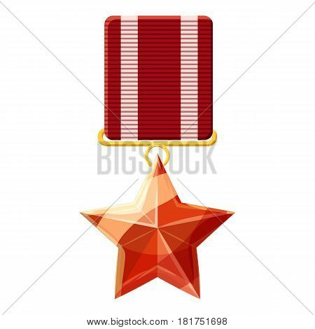 Red order with star icon. Cartoon illustration of red order with star vector icon for web