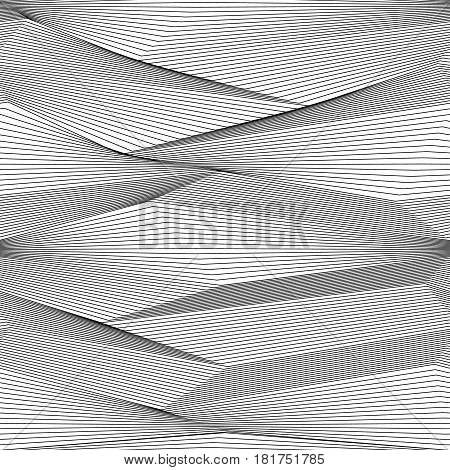 Abstract vector seamless moire pattern with zigzag curling lines. Monochrome  graphic black and white ornament. Striped repeating texture.
