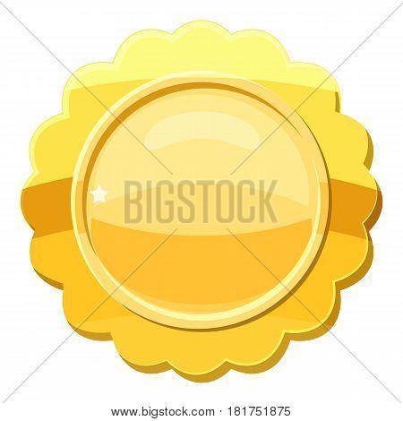 Gold circle metal badge icon. Cartoon illustration of gold circle metal badge vector icon for web