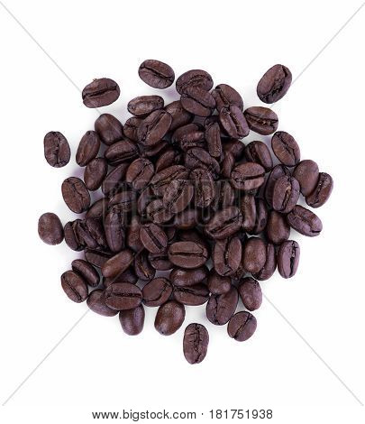 CloseUp coffee bean on white background. food