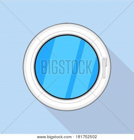 Round window icon. Flat illustration of round window vector icon for web