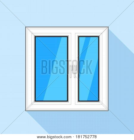 White plastic window with blue sky glass icon. Flat illustration of white plastic window with blue sky glass vector icon for web