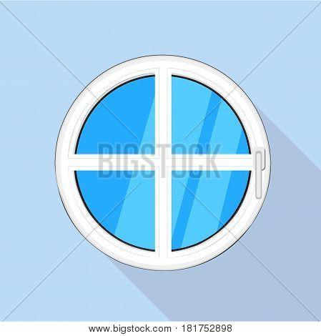Round plastic window icon. Flat illustration of round plastic window vector icon for web